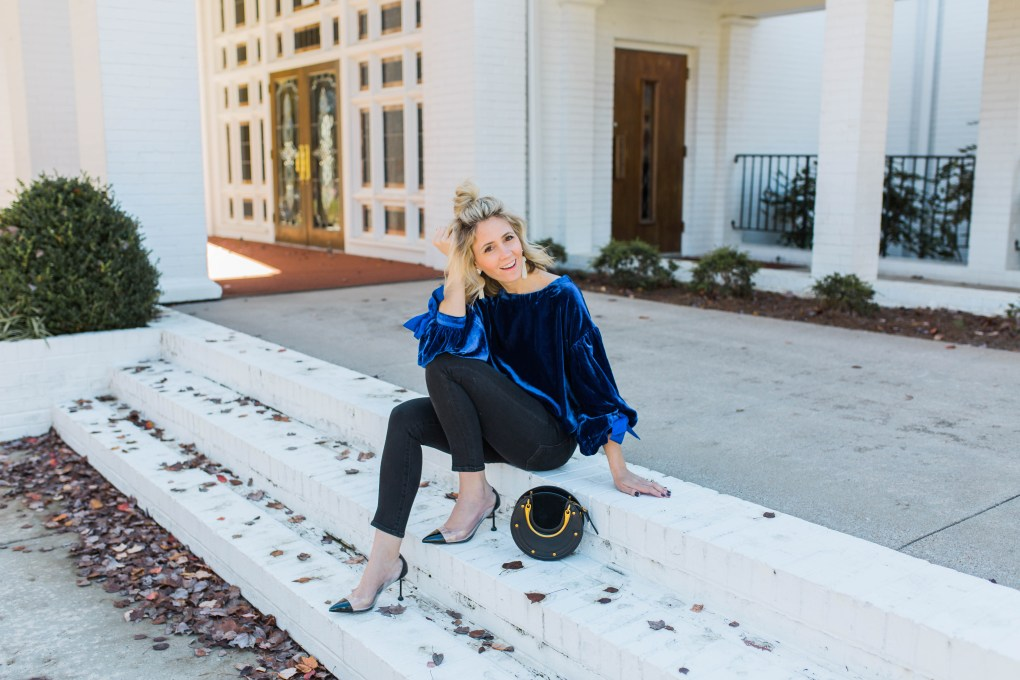 blue-velvet-free-people-bow-top-vivienne-hu-pumps-holiday-outfit-round-chloe-lob-hairstyle-bag-city-peach