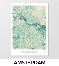 Amsterdam Map City Art Posters