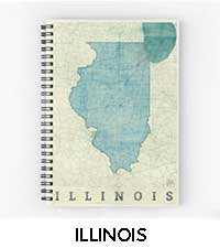 Illinois Map City Art Posters
