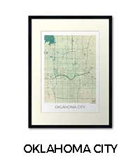 Oklahoma City Map Art Posters