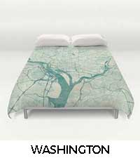 Washington Map City Art Posters