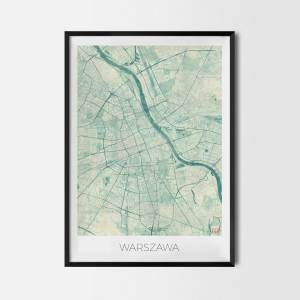 Warszawa Plakat Miasta Mapa
