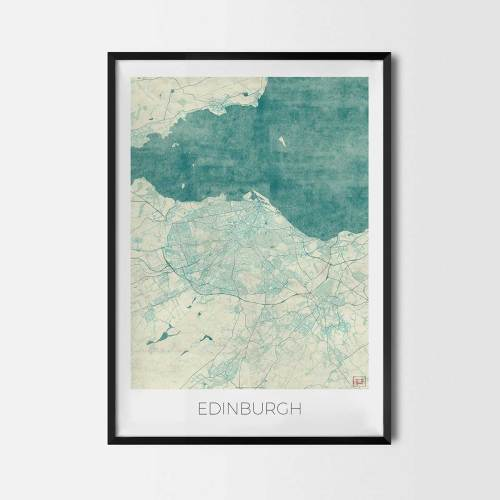 Edinburgh City Map Posters Art Prints