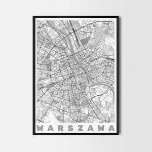 Plakat Warszawa Mapa