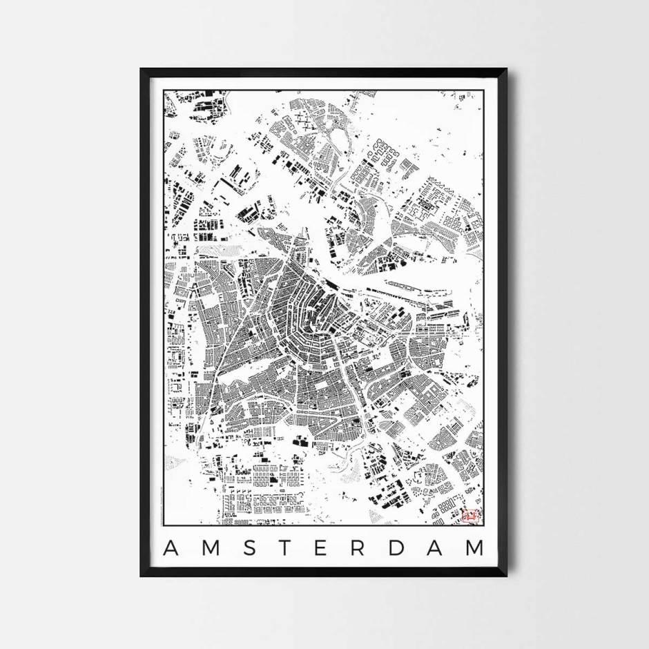 Amsterdam map poster schwarzplan urban plan