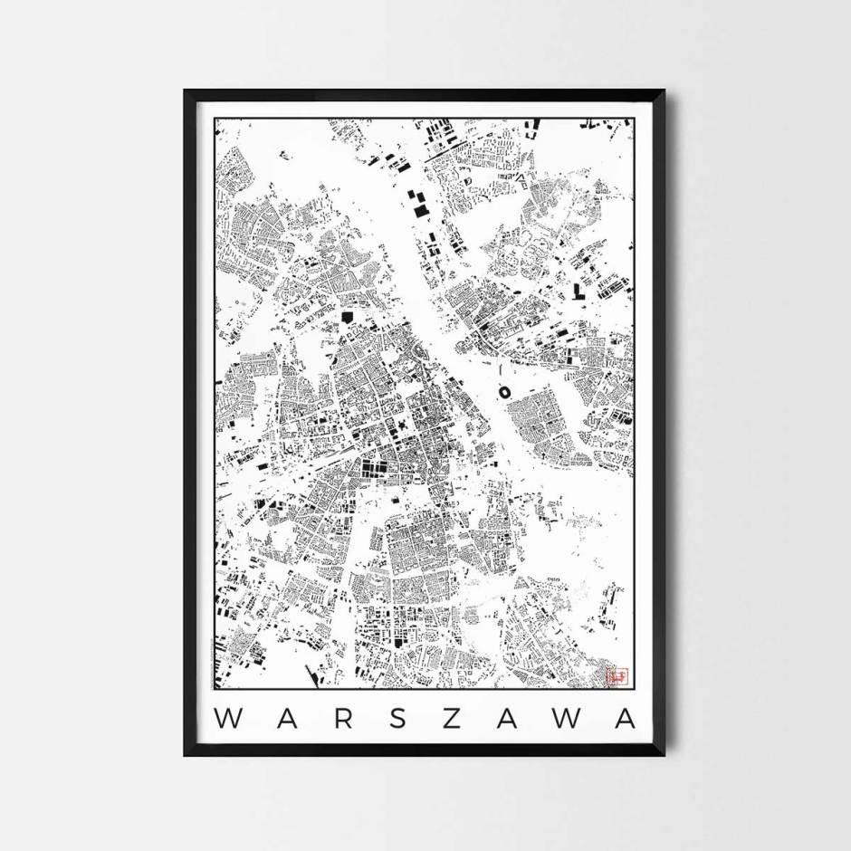 Warszawa map poster schwarzplan urban plan