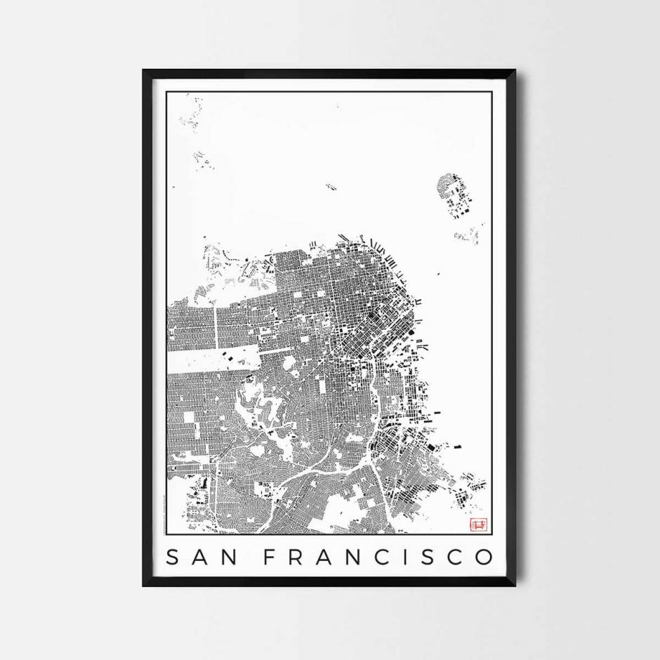 San Francisco map poster schwarzplan urban plan