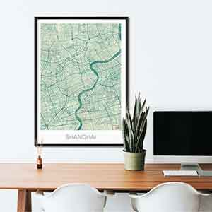Shanghai gift map art gifts posters cool prints neighborhood gift ideas