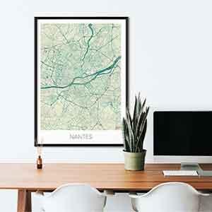 Nantes gift map art gifts posters cool prints neighborhood gift ideas