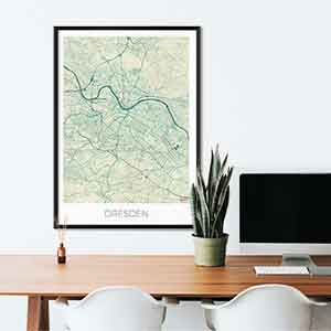 Dresden gift map art gifts posters cool prints neighborhood gift ideas