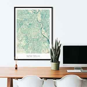 New Delhi gift map art gifts posters cool prints neighborhood gift ideas