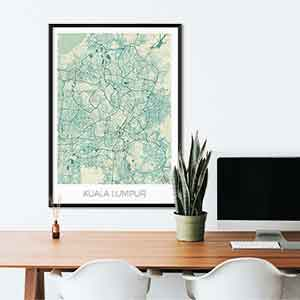Kuala Lumpur gift map art gifts posters cool prints neighborhood gift ideas