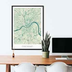 Cincinnati gift map art gifts posters cool prints neighborhood gift ideas