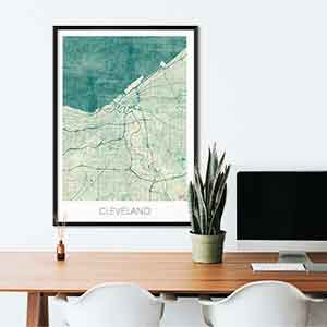 Cleveland gift map art gifts posters cool prints neighborhood gift ideas