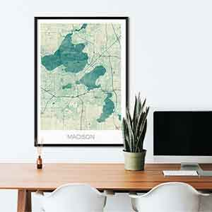 Madison gift map art gifts posters cool prints neighborhood gift ideas