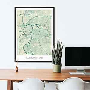 Sacramento gift map art gifts posters cool prints neighborhood gift ideas