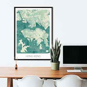 Hong Kong gift map art gifts posters cool prints neighborhood gift ideas
