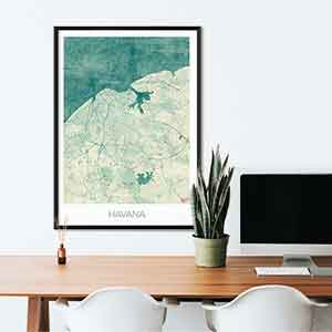 Havana gift map art gifts posters cool prints neighborhood gift ideas