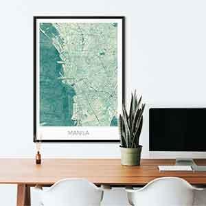 Manila gift map art gifts posters cool prints neighborhood gift ideas