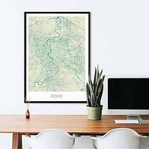 Rome gift map art gifts posters cool prints neighborhood gift ideas