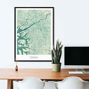 Osaka gift map art gifts posters cool prints neighborhood gift ideas