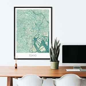 Tokyo gift map art gifts posters cool prints neighborhood gift ideas