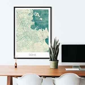 Doha gift map art gifts posters cool prints neighborhood gift ideas