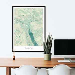 Zurich gift map art gifts posters cool prints neighborhood gift ideas