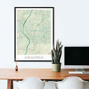 Albuquerque gift map art gifts posters cool prints neighborhood gift ideas