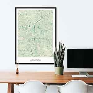 Atlanta gift map art gifts posters cool prints neighborhood gift ideas