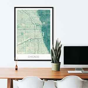 Chicago gift map art gifts posters cool prints neighborhood gift ideas