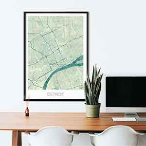 Detroit gift map art gifts posters cool prints neighborhood gift ideas