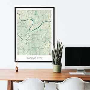 Kansas gift map art gifts posters cool prints neighborhood gift ideas
