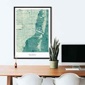 Miami gift map art gifts posters cool prints neighborhood gift ideas