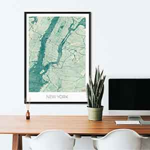 New York gift map art gifts posters cool prints neighborhood gift ideas
