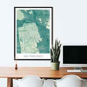 San Francisco gift map art gifts posters cool prints neighborhood gift ideas