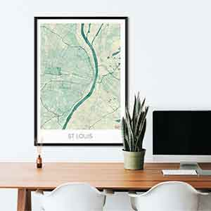 St Louis gift map art gifts posters cool prints neighborhood gift ideas