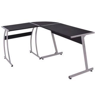 vidaXL Kampinis rašomasis stalas, L formos, juodas