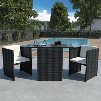 vidaXL Bistro baldų komplektas su pagalvėmis, 3d., juodas, polirat.