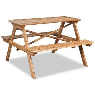 vidaXL Iškylos stalas, bambukas, 120x120x78 cm