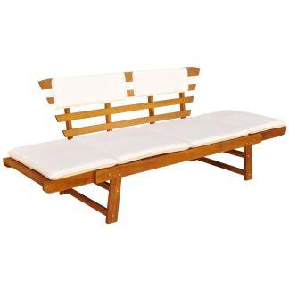 vidaXL Sodo suoliukas su pagalvėmis 2-in-1, 190 cm, akacijos mediena