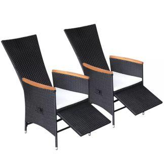 vidaXL Atlenkiamos sodo kėdės su pagalvėlėmis, 2 vnt., ratanas, juodos