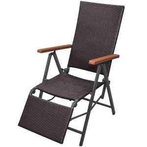 Atlošiamas krėslas, poliratanas, rudas