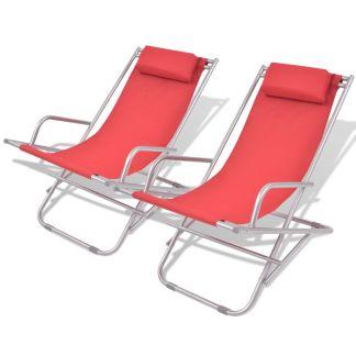 vidaXL Atlošiami gultai, 2 vnt., plienas, raudonos spalvos