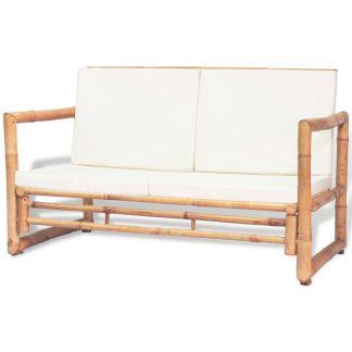 vidaXL Dvivietė sodo sofa su pagalvėlėmis, pilkos spalvos, bambukas