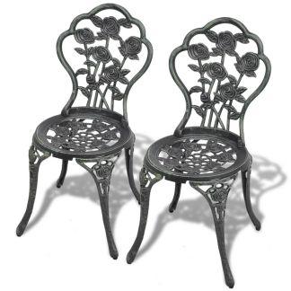 vidaXL Bistro kėdės, 2 vnt., lietas aliuminis, žalios
