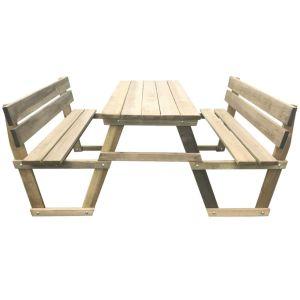 Iškylos stalas su 2 suoliukais, impregnuota pušies mediena