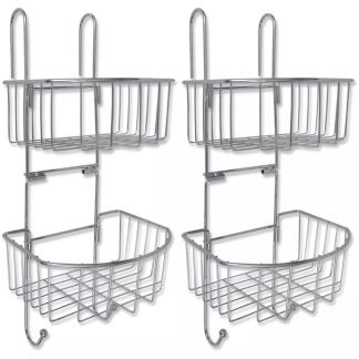 vidaXL 2 lygių dušo lentynos, 2 vnt., metalinės