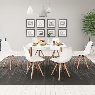 vidaXL 7 dalių valgomojo stalo ir kėdžių komplektas, balta