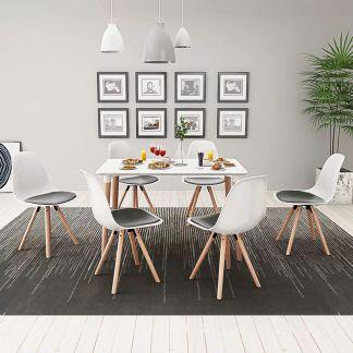 vidaXL 7 dalių valgomojo stalo ir kėdžių komplektas, balta ir juoda